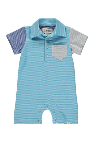 Me & Henry Colorblock Micro Stripe Polo Shortall w/ Children's Book, Size 0-24 Months