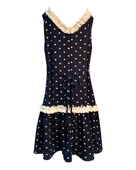 Image 2 of 2: Helena Girl's Polka-Dot Ruffle-Trim Sleeveless Dress, Size 4-6