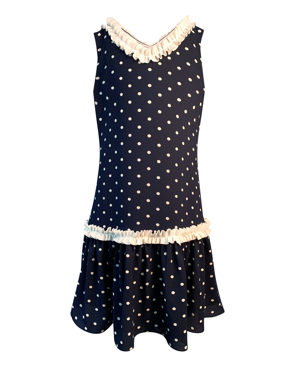 Helena Girl's Polka-Dot Ruffle-Trim Sleeveless Dress, Size 4-6