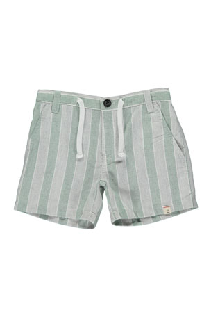 Me & Henry Boy's Striped Twill Shorts w/ Children's Book, Size 3T-7