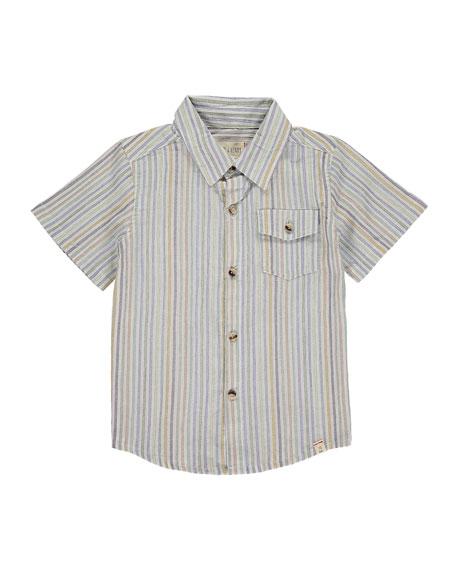 Me & Henry Boy's Multi-Stripe Button-Down Shirt w/ Children's Book, Size 3T-10