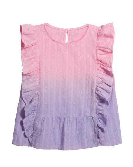 Design History Girls Girl's Dip Dye Clip-Dot Sleeveless Ruffle Top, Size 6X-6