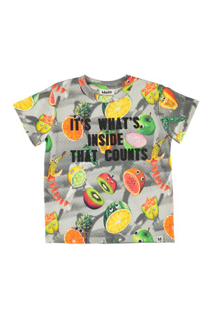 Molo Raymont Multicolored Fruit-Print T-Shirt, Size 4-10