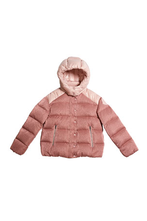 Moncler Girl's Chouette Sparkles Detachable-Hood Puffer Coat, Size 12