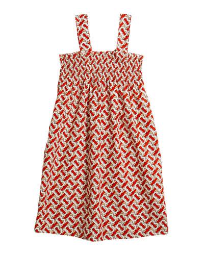 Girl's Junia Smocked Monogram-Print Dress  Size 3-14