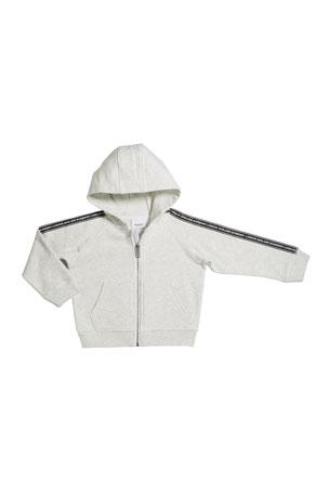 Burberry Girl's Corwyn Logo Tap Zip-Front Fleece Hoodie, Size 3-14