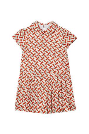 Burberry Girl's Lenka Monogram Print Silk Twill Dress, Size 3-14
