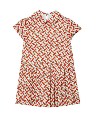 Girl's Lenka Monogram Print Silk Twill Dress  Size 3-14