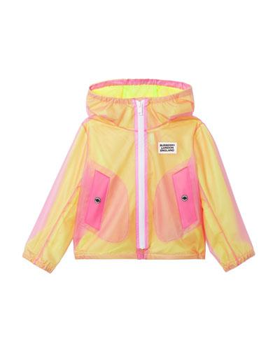 Girl's Bardy Transparent Logo Raincoat  Size 3-14