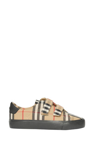 Burberry Markham Check Grip-Strap Sneaker, Toddler/Kids