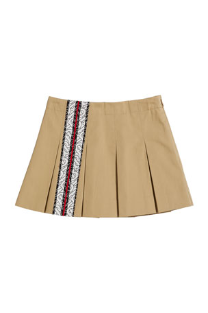 Burberry Georgia Pleated Panel Skirt, Size 3-14