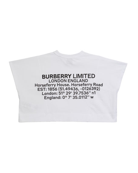Image 2 of 2: Burberry Girl's Sawyer Location-Print Top, Size 3-14