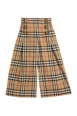 Burberry Girl's Tilda Archive Check Wide-Leg Sailor Pants, Size 3-14