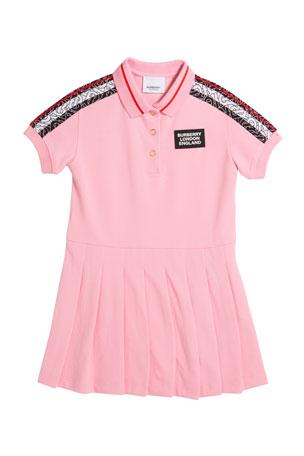 Burberry Kayleigh Monogram Stripe Print Polo Shirt Dress, Size 3-14