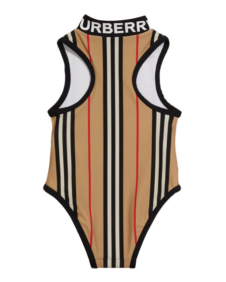 Image 2 of 2: Burberry Girl's Siera Archive Stripe One-Piece Swimsuit, Size 3-14