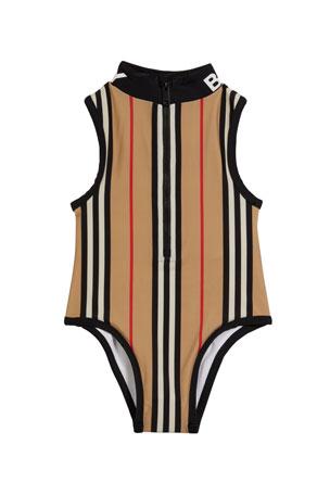Burberry Girl's Siera Archive Stripe One-Piece Swimsuit, Size 3-14