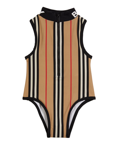 Image 1 of 2: Burberry Girl's Siera Archive Stripe One-Piece Swimsuit, Size 3-14