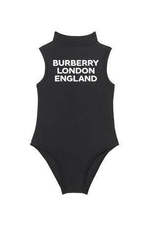 Burberry Girl's Iris High-Neck Logo One-Piece Swimsuit, Size 3-14