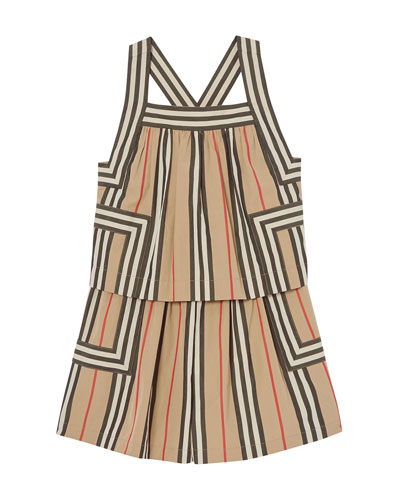 Girl's Florence Icon Stripe Tiered Romper  Size 3-14