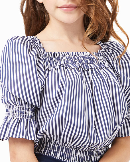 Image 2 of 4: Habitual Girl's Striped Puff-Sleeve Top, Size 7-14