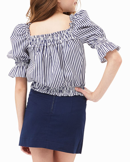 Image 4 of 4: Habitual Girl's Striped Puff-Sleeve Top, Size 7-14