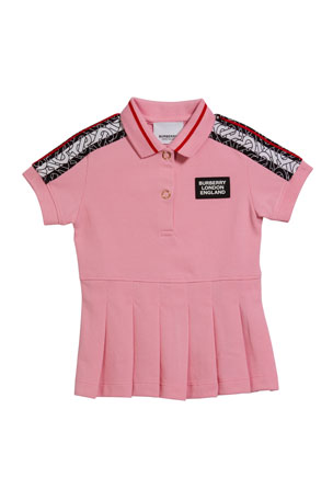 Burberry Rebecca Monogram Stripe Print Polo Shirt Dress, Size 6M-2