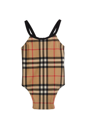 Burberry Girl's Crina Signature Check One-Piece Swimsuit, Size 6M-2