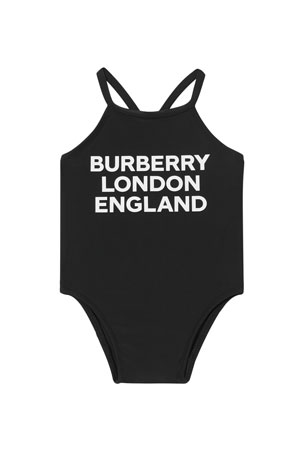 Burberry Girl's Crina Logo Print Solid One-Piece Swimsuit, Size 6M-2