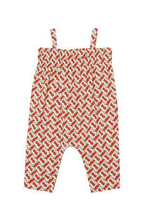 Burberry Girl's Marin Monogram Print Smocked Jumpsuit, Size 6M-2