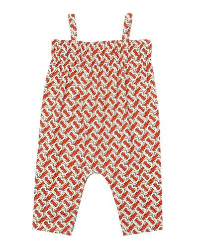 Girl's Marin Monogram Print Smocked Jumpsuit  Size 6M-2
