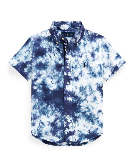 Ralph Lauren Childrenswear Boy's Tie Dyed Poplin Button-Down Shirt, Size 2-4