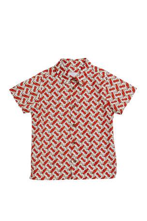 Burberry Boy's Desmond Monogram-Print Shirt, Size 3-14