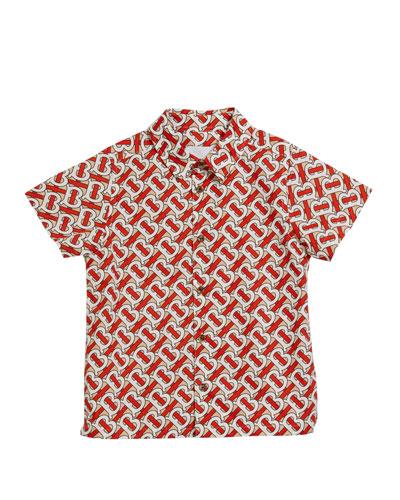 Boy's Desmond Monogram-Print Shirt  Size 3-14