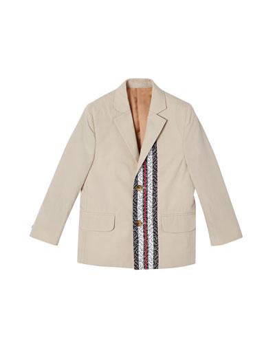 Boy's Ali Monogram Trim Cotton Jacket  Size 3-14