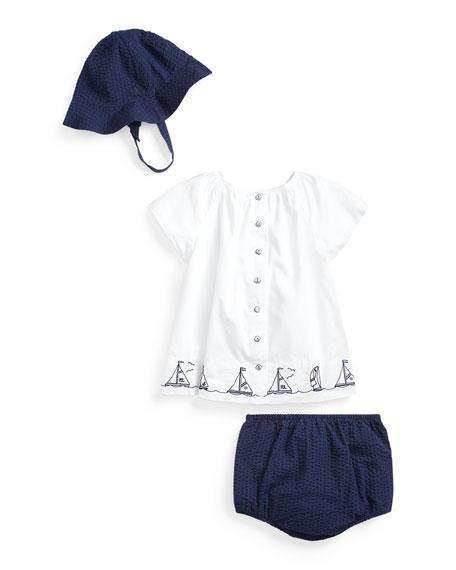 Ralph Lauren Childrenswear Girl's Batiste Nautical Top w/ Solid Bloomers, Size 6-24 Months
