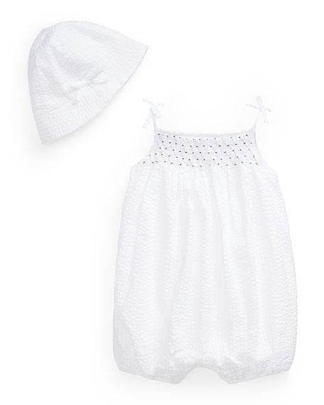 Ralph Lauren Childrenswear Seersucker Smock Romper w/ Matching Hat, Size 6-24 Months
