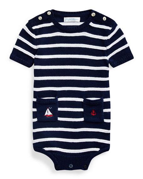 Ralph Lauren Childrenswear Boy's Striped Cotton Bodysuit, Size 3-12 Months