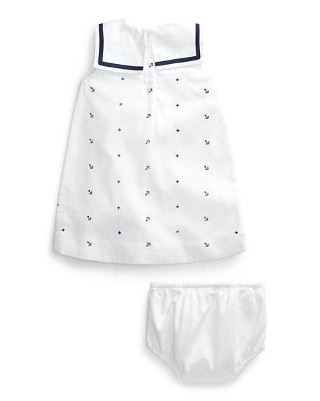 Ralph Lauren Childrenswear Girl's Nautical Bedford Corduroy Dress w/ Solid Bloomers, Size 9-24 Months