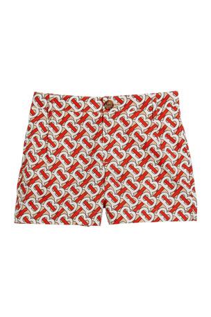 Burberry Boy's Desmond Monogram-Print Shorts, Size 3-14