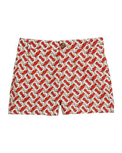 Boy's Desmond Monogram-Print Shorts  Size 3-14