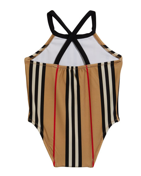 Image 2 of 2: Burberry Girl's Crina Icon Stripe One-Piece Swimsuit, Size 6M-3