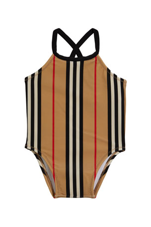 Burberry Girl's Crina Icon Stripe One-Piece Swimsuit, Size 6M-3