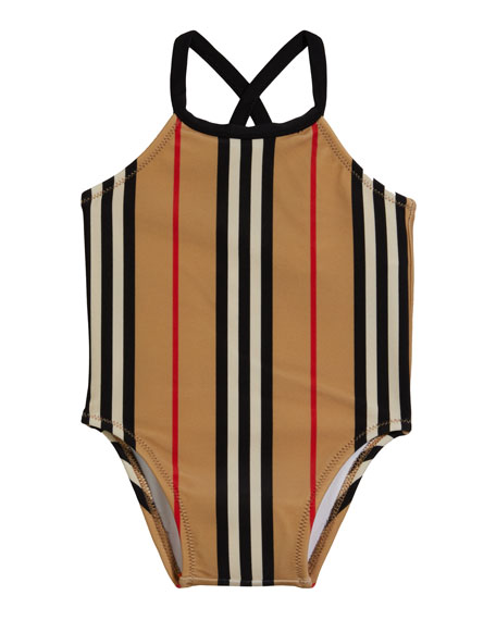 Image 1 of 2: Burberry Girl's Crina Icon Stripe One-Piece Swimsuit, Size 6M-3