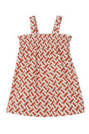 Burberry Girl's Junia Monogram Print Smocked Sun Dress, Size 6M-2