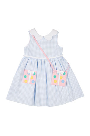 Florence Eiseman Girl's Check Pique Dress w/Present Purse, Size 2-4T