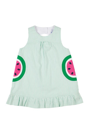 Florence Eiseman Striped Seersucker Watermelon Dress, Size 2-4T