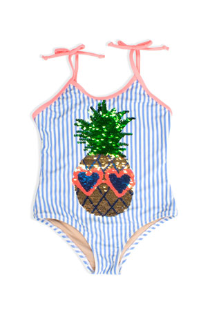 Shade Critters Girl's Pineapple Flip Sequin Striped One-Piece Swimsuit, Size 3-8