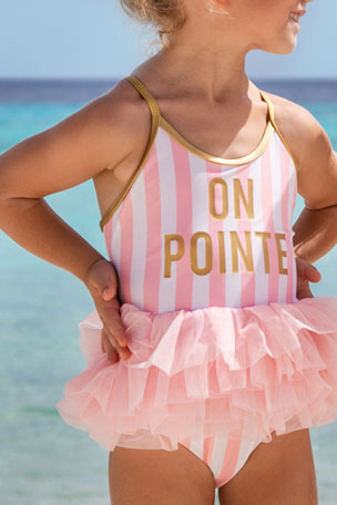 Shade Critters Girl's On Pointe Striped Ruffle-Skirt One-Piece Swimsuit, Size 2-6