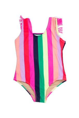 Shade Critters Girl's Multi Stripe Fringe-Back One-Piece Swimsuit, Size 4-14