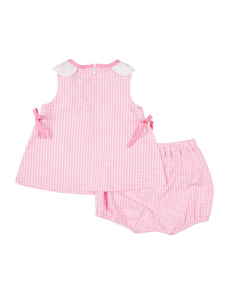 Florence Eiseman Petal Neck Check Top w/ Bloomers, Size 3-24 Months